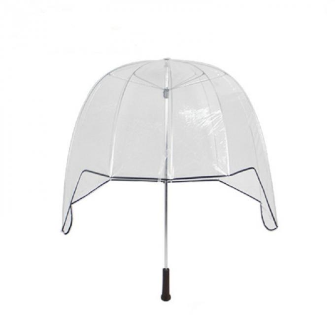30 Inch Helmet Clear Dome See Through Umbrella Straight Wooden Handle