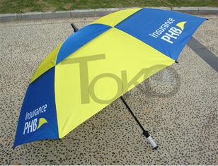 China 30 Inch Double Canopy Vented Travel Umbrella Windproof Black Metal Shaft supplier