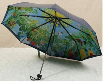China 21 Inches Collapsible Patio Umbrella Manual Open Metal Frame Printed Pattern supplier