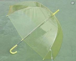 China Light Yellow POE Clear See Through Umbrella Auto Open Metal Frame With Flute Rbis supplier