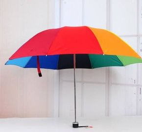 China Children's Rainbow Coloured Umbrella , Manual Open Color Wheel Umbrella 8 Ribs supplier