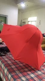China Special Shape Cap Red Large Collapsible Umbrella With Black Steel Frame supplier