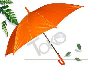 Straight Ladies Walking Umbrella 190T Polester Fabric Orange Color Flute Long Ribs