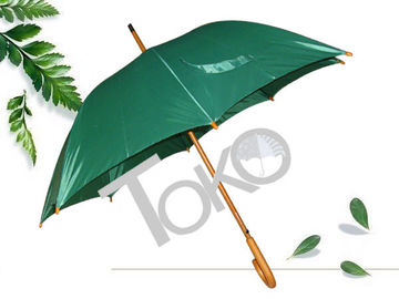 Solid Stick Wooden Handle Umbrella , Plaid Green Umbrella With Wooden Handle