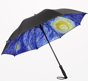 China Printed Collapsible Golf Umbrella , Wind Resistant Automatic Umbrella Plastic Cap factory