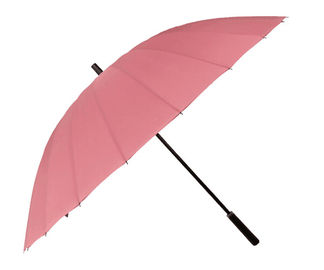 China Pink Collapsible Golf Umbrella Manual Open Fibreglass Shaft 190T Pongee Fabric factory