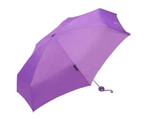 Purple Folding Compact Windproof Umbrella 3 Section 190T Ployester Fabric