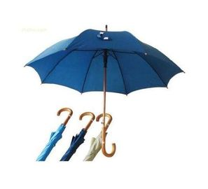 Hook Handle Navy Blue Umbrella Wooden Handle Metal Frame With Fibreglass Ribs