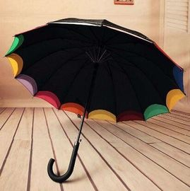 Double Canopy Bright Multi Colored Umbrella Hook Plastic Handle Black Metal Frame