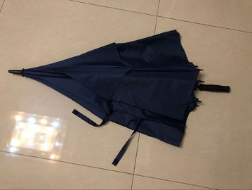 China Manual Open Collapsible Golf Umbrella , Navy Color Vented Windproof Umbrella factory