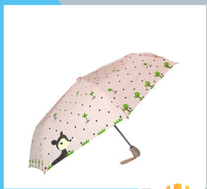 Full Printed Custom Automatic Folding Umbrella For Women With Plastic Handle